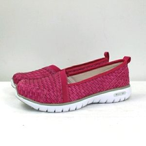 PROPET pink woven leather slip on sneakers-wide